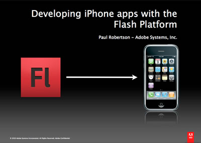 Flash logo pointing to iPhone with presentation title