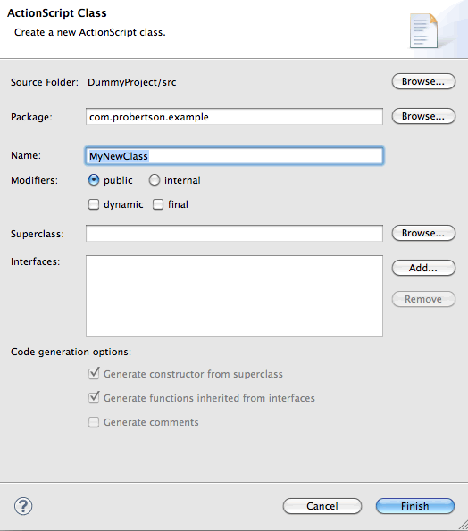Flash Builder 4.5 Create Class dialog box.