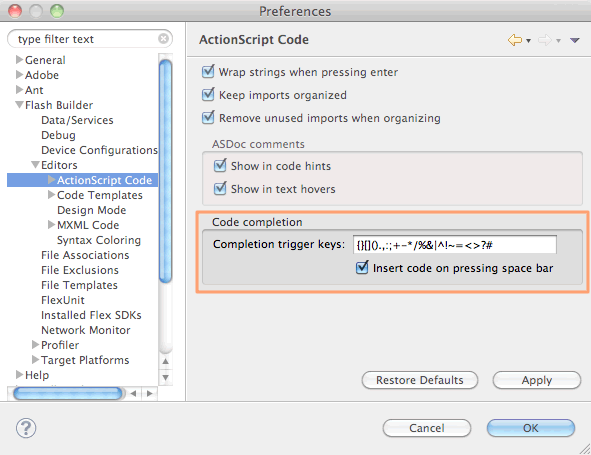 Code completion preferences pane