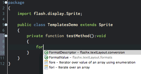 Templates are listed in the code hint menu.