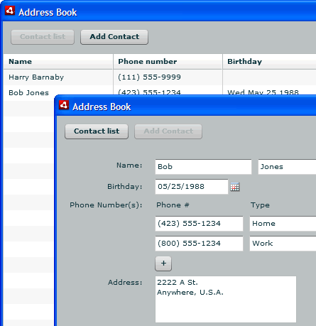 Screen capture of the AddressBook application showing the main contact list and a single detail record
